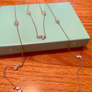 Ann Taylor Loft Silver Double Necklace with stones